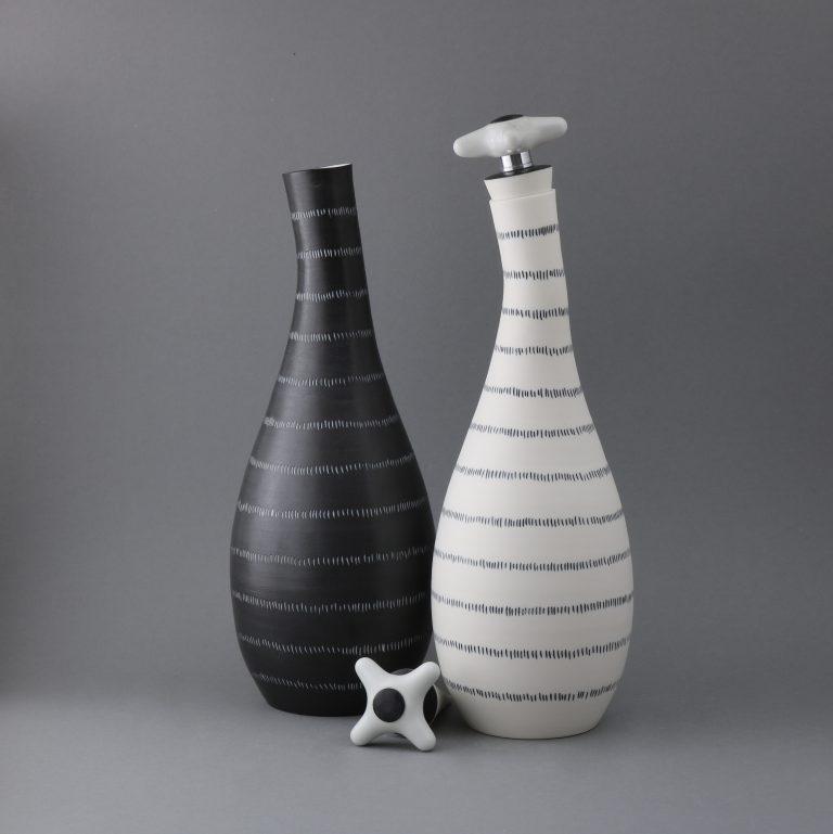 Porzellan Flaschen Schwarz Weiß