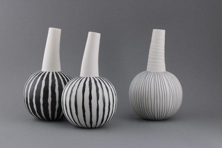 Porzellan Kallebassen Vasen Schwarz Weiß