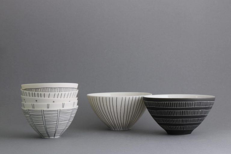 Porzellan Schalen Schwarz Weiß