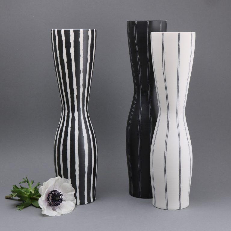 Porzellan Vasen Schwarz Weiß