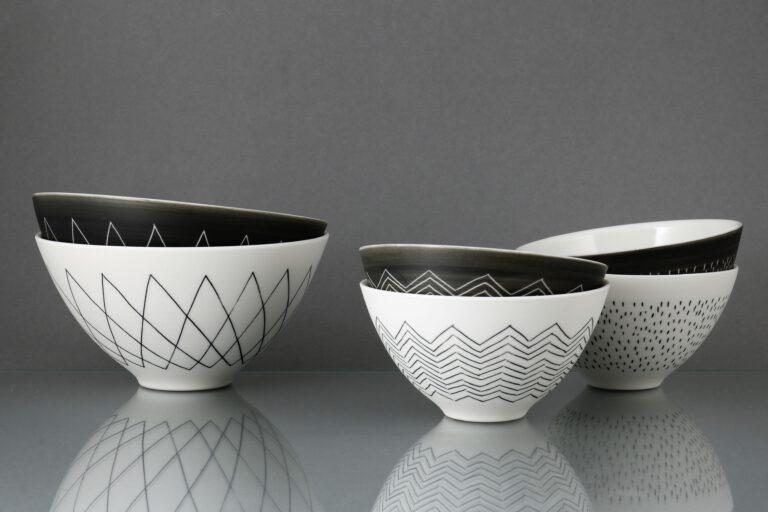 Porzellanschalen schwarz weiß